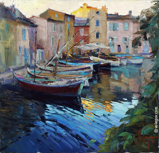 """Martigues. Boats"", 60,5x63 сm, oil on canvas. August 2016"