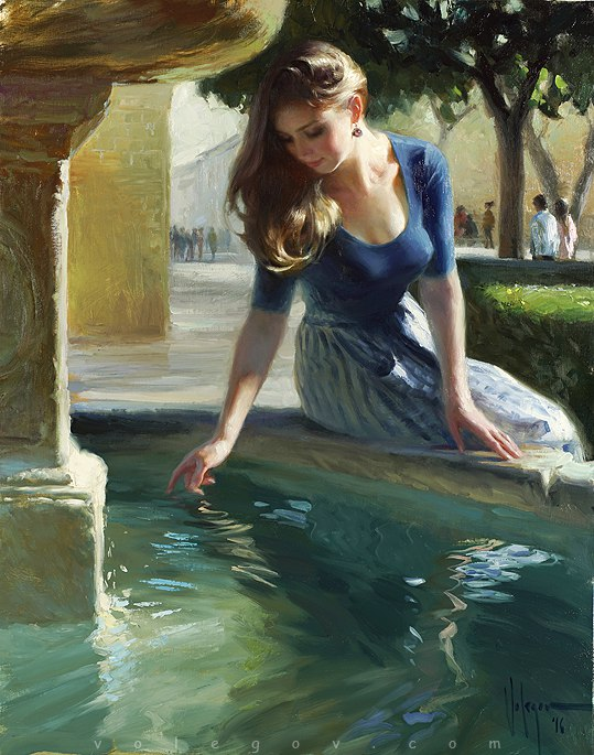 """At the city fountain"", 92x73 cm, oil on canvas. April 2016"